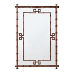 "Hampstead Mirror - It's got tropical bamboo, and a hint of classic Greek Key pattern. Combined, it makes this regency style mirror one I'd use in to give a room some Asian flair or to add an exotic touch to a more traditional space.Expertly pieced fretwork frameRich honey stainHangs vertically or horizontally27 1/2""W x 38 1/2""L"