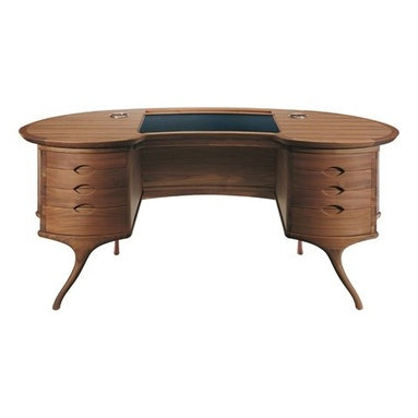 Eco Friendly Furnture and Lighting - Writing desk made in solid American cherry-wood or in American walnut, with 8 drawers, the first two drawers with internal partitions made in solid maple wood, flip-up top with faux leather pad, brass pen-holder and central wooden-tray.
