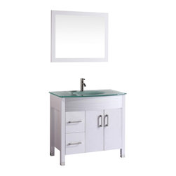 """Vanova - Vanova VA104-36W Cabinet, Basin & Mirror White Vanity - Our stylish floor standing all wood vanity includes a frosted glass top with an integrated round sink. Soft closing doors and two left sided drawers with matching mirror.  Color: White,Vanity:36""""W x 21""""D x 33""""H,Mirror:33""""W x 27""""H,Includes:Cabinet-frosted glass basin & mirror,Hardware:Soft-closing doors and drawers,Faucet & drain not included"""