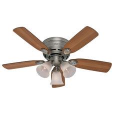 "Contemporary Ceiling Fans Hunter Fan Company 23857 Low Profile Plus Pewter 42"" Ceiling Fan"