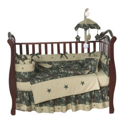Sweet Jojo Designs - Camouflage Bedding - Green 9 Piece Crib Bedding Set - The Camouflage Bedding - Green 9-Piece Crib Bedding Set is just one of the crib bedding sets we offer from Sweet Jojo Designs. The 9-Piece baby bedding set includes a crib blanket, fitted crib sheet, crib bumper pads, crib skirt (dust ruffle), diaper stacker, toy bag, decorative pillow, and two window valances. This camouflage bedding set will make any boy's room feel special!
