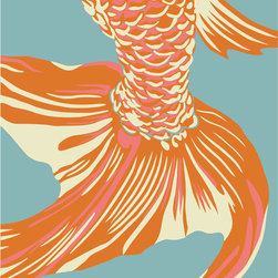 "Emma at Home - Fishtail Print, Sea, 16"" x 20"" - This classic Asian image is so simple and pretty. It would look great paired with a similar reproduction by the same artist. Imagine them framed side by side in a dining room or living room."