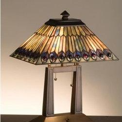 Meyda Tiffany - Meyda Tiffany 26300 Stained Glass / Tiffany Table Lamp Jeweled Peacock - Copperfoil CollectionOblong Table Lamp2 Medium base bulbs, 60w (max)