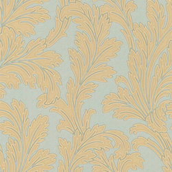 Teal and Gold Leafed Textured Wallpaper - Give your walls a traditional look with a modern flare with wallpaper from the Regent Collection by Brewster.