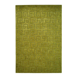 Safavieh - Green Hand-Tufted Greek Key Rug (6 ft. Round) - Size: 6 ft. Round. Hand woven from quality wool and tufted for softness, this green area rug excels anywhere in your home. It has a classic Greek key geometric pattern for added depth and dimension. Hand Tufted. Wool and Viscose. Made in IndiaThe Soho Collection is Safavieh's response to market demand for clean, transitional design in rugs that work equally well in traditional and contemporary homes. The collection's unique purity and clarity of the color is achieved by selecting only the purest premium New Zealand wool as a canvas for Safavieh's exciting new color palette. Many of the designs in the Soho collection are accented with viscose for silky softness to outline patterns, and further highlight the softness of the wool. This innovative collection is hand-tufted in India.