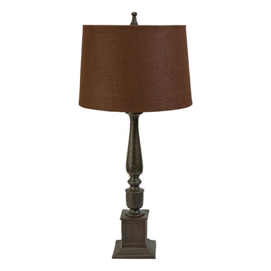 Lawson Tall Mocha Burlap Table Lamp - *The dramatic scale of the Lawson table lamp has an aged metal base in a slender column body, topped with a deep mocha burlap flared drum shade. Uses type A 13W CFL or 60W A type bulb.
