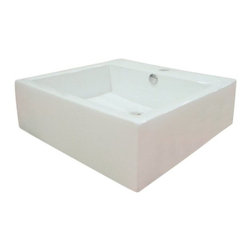 Kingston Brass - White China Vessel Bathroom Sink with Overflow Hole and Faucet Hole EV4042 - This vessel countertop wash basin stands tall with its 6 inches high deck shaped in a large square covering 18 around all four sides.  Constructed with vitreous china material, the interior basin is expanded 4  inward with a rear-side overflow hole and a single-hole drilling on the faucet deck. Manufacturer: Kingston BrassModel: EV4042UPC: 663370084461Product Name: White China Vessel Bathroom Sink with Overflow Hole and Faucet HoleCollection / Series: CommodoreFinish: WhiteTheme: Contemporary / ModernMaterial: CeramicType: SinkFeatures: Tabletop or Wall mount installation
