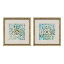 "Silver Nest - Aqua Tiles Artwork- Set of 2 - 1.5"" Polystyrene shadow box style cream finish molding with beaded aged gold finish edging"