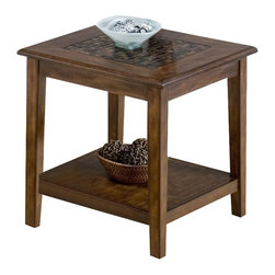 Jofran - Jofran Baroque End Table with Mosaic Tile Inlay in Brown - Jofran - End Tables - 6983