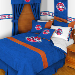 Sports Coverage - NBA Detroit Pistons MVP Micro Suede Bedding - Bedroom Package - Queen - Save big and show your NBA team spirit with Detroit Pistons MVP Micro Suede Complete Bedroom Package which includes a Comforter, Sheet set, Shams and Valance! The MVP Micro Suede Collection is unique in its appeal to both young and more mature tastes. The best part of this new look is its ultra soft and washable faux suede fabric which is perfect for bedding because it stays soft. Color fast and wrinkle-free. Each comforter has team logo screen printed in the center. The Comforter is reversible to a Solid Jersey.   Microfiber Sheet Hem sheet sets have an ultrafine peach weave that is softer and more comfortable than cotton.  Its brushed silk-like embrace provides good insulation and warmth, yet is breathable.  The 100% polyester microfiber is wrinkle-resistant, washes beautifully, and dries quickly with never any shrinkage. The pillowcase has a white on white print beneath the officially licensed team name and logo printed in vibrant team colors, complimenting the NEW printed hems. The Teams are scoring high points with team-color logos printed on both sides of the entire width of the extra deep 4 1/2 hem of the flat sheet.   Includes:  -  Comforter - Twin 66 x 86, Full/Queen 86 x 86,    -  Flat Sheet - Twin 66 x 96, Full 81 x 96, Queen 90 x 102.,    - Fitted Sheet - Twin 39 x 75, Full 54 x 75, Queen 60 X 80,    -  Pillow case Standard - 21 x 30,    - Pillow Sham - 25 x 31,    - Window Valance with Pleats 50 x 15'' ,