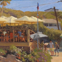 """Afternoon at the Beachcomber"" - Enjoy those good beach vibrations year round with this one of a kind, original oil painting by Armand Cabrera, oil on canvas 12"" x 16"", mounted in a 20"" x 24"" gilded wood craftsman style frame with carved detail.  The artist, Armand Cabrera, often completes his paintings on location, in this instance Laguna Beach.  His museum exhibitions include: Haggin Museum, Laguna Art Museum, Napa Valley Museum, Pasadena Museum of History, and the Pasadena Museum of California Art in California.  Utah museum exhibitions include the St. George Art Museum and the Human History Museum in Zion National Park.  Armand Cabrera is the ""Artist in Residence"" at Riverbend Park in Great Falls, Virginia and is an Artist Member of the American Artist Professional League, Oil Painters of America, and Plein Air Painters of the Southeast."