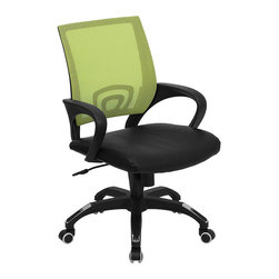 Flash Furniture - Flash Furniture Mid Back Mesh Computer Chair in Green with Black Seat - Flash Furniture - Office Chairs - CPB176A01GREENGG - For a contemporary and stylish mesh computer chair for your home or office there's no need to look any further. This ergonomic task chair with mesh back from Flash Furniture will provide a comfortable and functional addition to any setting. Featuring a cool mesh back, leather seat, and a designer base, this computer chair will provide all the necessities for a home or office desk chair with a few extra features. [CP-B176A01-GREEN-GG]