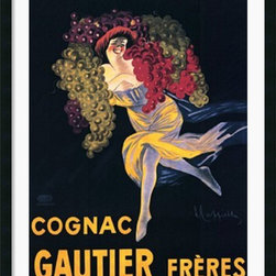 Amanti Art - Cognac Gautier Freres Framed Print - Bring nostalgic charm to any room with this playful French vintage poster. This sprightly vintage art poster holds appeal for lovers of bubbly and vintage art fans alike. Who could resist a glass of champagne from such a carefree creature?