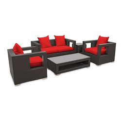 Modway - Lunar 5 Piece Sofa Set in Espresso Red - Elicit pure perceptions with this brightly illuminated outdoor living set. Inherit abundant light and energy as even the moon's halo shines a radiant glow on fertile red all-weather cushions and espresso rattan base. Rejuvenating discussions await along the path of illuminated space and emergent explorations.