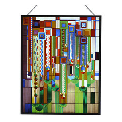 """YTC Frank Lloyd Wright Collection - Frank Lloyd Wright Saguaro Stained Glass Metal Framed - This Frank Lloyd Wright Saguaro Metal Framed Stained Glass vividly recreates one of Wright's most popular designs. The design is one of a number of Liberty Magazine cover designs from 1926-27 that the editors thought to be too """"radical"""" and never used. In 1973 there was a fire in the Arizona Biltmore. This graphic was selected from the Frank Lloyd Wright Archive to be rendered in stained glass in the reconstructed foyer. On this glass panel, enamel colors are individually applied to a single sheet of glass which is then kiln fired to permanently fuse the enamels to the glass. The glass is then metal framed and and includes a hanging chain. Does NOT come with stand. Ht: 13.88"""". W: 11"""". This Frank Lloyd Wright glass panel is officially licensed by the Frank Lloyd Wright Foundation."""