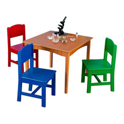 KidKraft - Kidkraft Nantucket Table and 4 Primary Chairs - Our wooden Nantucket Honey Table and 4 Chair Set is a great place for coloring, board games, and crafts.