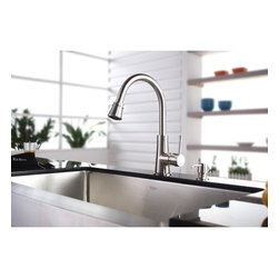 Kraus - One Handle Single Hole Kitchen Faucet with Soap Dispenser and Pull Out Spray - Features: -Dual pull-out spray head with an aerated flow or a powerful spray.-Spring-tensioned retractable hose.-Spout swivels 360-degrees.-Contains Sedal drip-free ceramic cartridge.-Hermetically sealed with adjustable temperature and flow rate limitation.-Single-lever water and temperature control.-Single-hole, top-mount installation.-Water pressure tested for industry standard.-Standard US plumbing connections.-2.2 GPM flow rate.-California AB 1953 compliant.-Easy-push, self-priming pump.-Refillable from above.-Holds 14 ounces of liquid.-Kitchen faucet can be installed with or without a deck plate.-ADA compliant.-Certified: ANSI/ASME A112.18.1; CSA B125; IAPMO/UPC; ADA.-Spout Reach: 9.25''.-Reach: 3.5''.-Matching cover plates are included.-All mounting hardware and hot / cold waterlines are included.-Faucet is constructed from solid brass.-Collection: Kitchen Faucet Combos.-Distressed: No.Dimensions: -Requires 1.25'' hole.-Faucet Height: 14.9''.-Spout Height: 8.25''.-Hose Length: 28''.-Height: 2.1''.Warranty: -Limited Lifetime Warranty.