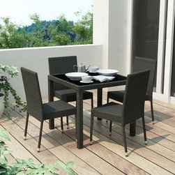 Sonax - Sonax 'Park Terrace' 5-piece Patio Dining Set - Add a lovely touch to your outdoor space with this five-piece dining set from Sonax. A durable table with a glass top and four durable, rattan wicker chairs complete this UV resistant dining set.