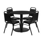 Flash Furniture - Flash Furniture Restaurant Furniture Table and Chairs X-GG-1001BRSR - 36'' Round Black Laminate Table Set with 4 Black Trapezoidal Back Banquet Chairs [RSRB1001-GG]
