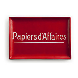 Rosanna - Rosanna Voyage Papiers d'Affaires Mail Tray - We've found the Voyage Papiers D'Affaires Tray from Rosanna to be the perfect solution for keeping today's mail. Made from porcelain, this chic little red tray featuring the French words for business papers will also hold your reading glasses, trinkets, matches and petite treats.