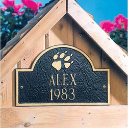 Whitehall - Pet Plaque - 5015BG - Shop for General Pet Supplies from Hayneedle.com! Made of recycled cast aluminum and painted with weather-resistant finish. This personalized pet marker will create a memorial for a favorite pet OR dress up a dog house. Custom-made one at a time for a personalized item that will last a lifetime. About Whitehall Renowned as the world's largest manufacturer of weathervanes Whitehall Products is also recognized for its extensive line of personalized home address plaques mailboxes and garden accents such as hose holders birdbaths birdfeeders and sundials. Whitehall's home accent collection includes unique indoor/outdoor clocks thermometers and personalized doormats. Behind the legend of Whitehall artistry lies the tale of a unique craft inspired by the majestic shores and woodlands of western Michigan. It was one master wood-carver's desire to reproduce and preserve his hand-carved wood sculpture in metal depicting the grace and essence of America's natural beauty. Over 65 years later Whitehall Products still offers you the same mastery in detail with each originally designed carved and hand-cast product.