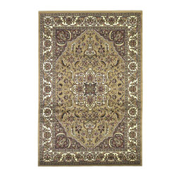 Cambridge 7328 Beige/Ivory Kashan Medallion Rug - Our Cambridge Series is machine-woven in China of heat-set polypropelene. This line features a current color palette in classic and transitional patterns providing a well-designed and durable rug at a very affordable price point. No fringe.