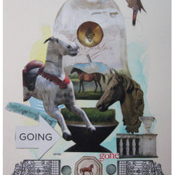 Going Going Gone (Original) by Karin Lowney-Seed - Framed, humorous collage with white matte and black inset.