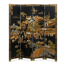 72-inch Chinoiserie Scenery Design Floor Screen - Chinoiserie floor screens are classic and come in a variety of sizes to perfectly fit your space. Create a layered effect by placing this one behind a brown sofa. Finish off the look with a black lacquered coffee table, a beige rug and two antique lamps on either end of the sofa. Voilà — your blank wall has instantly come to life.