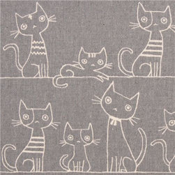 grey brushed Canvas cat fabric by Kokka from Japan - soft animal fabric with many funny cats in stripes from Japan