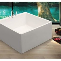 "Aquatica - Aquatica PureScape 324 Freestanding Acrylic Bathtub - White - Treat yourself and soak in peaceful tranquility with Aquatica's stylish and ergonomic PureScape 324 freestanding bathtub. Aquatica challenges everything we thought we knew about a bathtub with the world-class modern design and ergonomic features that are incorporated into all of their luxury tubs. Aquatica Purescape bathtubs are as pleasing to the eye as they are to soak in. Their striking visual appeal adds a mesmerizing modern elegance to any bathroom. From the finest selection of raw materials all the way to the high-class design, Aquatica has spared no expense to innovate and create some of the highest quality bathtubs in the world.FEATURES:Striking upscale modern designFreestanding constructionSolid, one-piece construction for safety and durabilityExtra deep, full-body soakErgonomic design forms to the body's shape for ultimate comfortQuick and easy installationConstructed of 8mm thick 100% heavy gauge sanitary grade precision acrylicPremium acrylic and tub thickness provides for excellent heat retentionHigh gloss white surfaceColor is consistent throughout its thickness - not painted onColor will not fade or lose its brilliance overtimePreinstalled cable drive pop up and waste-overflow fitting includedDesigned for one or two person bathingNon-porous surface for easy cleaning and sanitizingBuilt-in metal base frame and adjustable height metal legsChrome plated drain5 Year Limited WarrantyCode compliant with American standard 1.5"" waste outletsSPECIFICATIONS:Overall Dimensions: 52.75 in. L X 52.75 in. W X 22.75 in. HDepth to Overflow Drain: 14.5 in.Interior Depth: 17.33 in.Interior Length (Top): 46.67 in.Interior Width (Top): 43.5 in.Interior Length (Bottom): 38.25 in.Interior Width (Bottom): 37 in.Weight: 152 lbsCapacity: See Spec SheetShape: SquareDrain Placement: CenterSpec SheetNote: This model usually ships in 1-2 days. Please allow an additional 2-3 business days for order transmittal and verification."