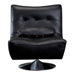 Diamond Sofa - Diamond Sofa Ultimate Swivel Armless Chair in Black - The Ultimate Swivel Armless Chair by Diamond Sofa provides a chic, modern style along with comfort and functional ability.  Swiveling 360 degrees, the Ultimate chair is more than just for looks, but also a comfortable chair that will soon become your favorite seat in the house.  The sophisticated styling will help you to achieve that look you have always wanted.  Extra wide metal base with low center of gravity provides for maximum stability.  Black Top Grain Leather on the seat and back, and finished with a leather match vinyl on the sides and bottom finishes the look.  The Ultimate Swivel Chair measures 32 inches wide by 33 inches deep by 36 inches high.