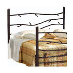 Mathews & Company - Woodland Wrought Iron Headboard, Queen - Make your bedroom or guest bedroom feel warm and welcoming with our Woodland Wrought Iron Headboard. It comes in both King and Queen sizes and is the perfect addition to a rustic cabin or home. Hand-crafted wrought iron branches extend horizontally between the iron branch corner posts of the headboard. Pictured in Black finish.