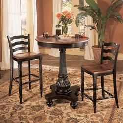 Hooker Furniture - Hooker Furniture Indigo Creek Pub Table 332-75-202 - The Indigo Creek Collection is crafted from hardwood solids with cherry veneers. It features a black finish with rub-through.