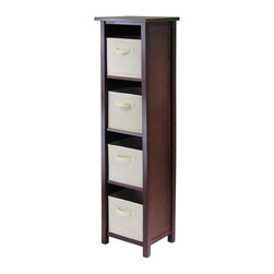 Winsome - Verona 4-Section N Storage Shelf with 4 Baskets - Walnut/Beige - This storage shelf comes with 4 foldable beige fabric baskets. Warm Walnut finish storage shelf is perfect for any room in your home. Use it alone as bookcase/shelf or with baskets for a complete storage function. Assembly required for shelf.