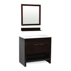 "Belmont Decor - Belmont Decor ST15-36 Auburn 37"" Single Sink Bathroom Vanity - Our posh yet simple Auburn single sink bathroom vanity will transform your ordinary bathroom into a stylishly modern space saving bathroom. The counter top is made from high quality heat and scratch resistant Carrera natural marble. The Auburn will give you ample storage space and is designed to harmonize with any theme, perfect to add elegance and sophistication to any bathroom."