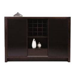 Beverly Hills Furniture - Reflex Buffet - Oak veneer in wenge finish. Two wood encased black glass sliding doors. Behind each side compartments there are 2 shelves. 4x4 wine cabinet in the center compartment. Full extension ball bearing tracks on drawer. 18 in. W x 58 in. L x 40 in. HBuffet is factory build with sliding wood-framed black glass doors covering ample storage space.  A worthy compliment to any modern dining area.