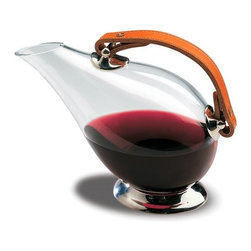 """Peugeot - Peugeot Cordoba Duck Decanter - Glass with Leather Handle - 6.75""""/26 oz. - Peugeot Cordoba Duck Decanter - Glass with Leather Handle - 6.75""""/26 oz. - PW230074    So-named because the decanter silhouette is shaped like a duck. Made of hand-blown glass with leather handle and platinum accents. Designed to decant young red wines, the tilted shape keeps the air in contact with the wine surface, developing and intensifying its aromas. The design also makes it easier to serve the wine, and minimizes the risk of dripping. Gift boxed."""