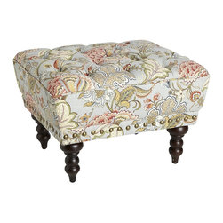 Chas Ottoman, Blue Meadow - You know this ottoman would have to go home with a woman. It has all the twirls and paisley swirls a woman would covet.