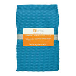 MU Kitchen Blue Waffle Microfiber Towel - The beautiful MU kitchen waffle microfiber dishcloth set is made from a revolutionary microfiber  a specially designed cloth that is woven in a unique pattern from polyester fibers that create tiny scoops that suck up dirt and attract micro-particles. Microfiber is softer than silk and stronger than cotton. The cloth is so well crafted  it renders harsh cleaning chemicals entirely unnecessary.Product Features                      Set of 2 - 17 x 25 in. towels          Waffle microfiber          Extremely absorbent and quick drying          Lint free and amazingly soft          Clean and polish wet or dry          Reduces bacteria growth with quick drying time          Finished with a hanging loop for convenience