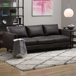 None - Sax Oxford Brown Leather Sofa - In a combination retro and mid-century modern design, this Oxford brown sofa rests on sturdy legs in a fine mahogany finish. The upholstery is decked out in full Italian leather with a plushy fill of foam, feathers and polyester fiber.