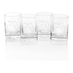 None - Home State Low Ball Drinking Glasses (Set of 4) - Show off your pride in where you come from with these fun home state glasses. Available in all 50 state options, these four low ball glasses are dishwasher-safe and feature a convenient weighted bottom design.