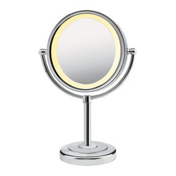 Conair Chrome Lighted Makeup Mirror on Pedestal