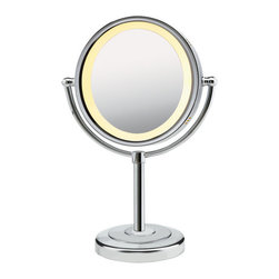 "Conair Chrome Lighted Makeup Mirror on Pedestal - We love when a product is stylish and functional. This tabletop lighted mirror looks lovely on the dressing table and gives her the perfect light so she can ""put on her face!"""