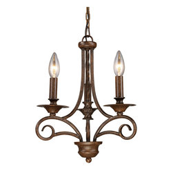 ELK - ELK 15041/3 Chandelier - The Gloucester Collection Reflects The Romance Of Old World Europe.  Finished In Weathered Bronze, This Series Features Graceful Wrought Iron Metalwork, Candlestick Styled Bobeches, And A Twisted Center Column.