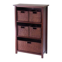 "Winsome Trading, INC. - Winsome Wood 94313 Milan Shelf Piece Decorative Storage Cabinet - Winsome's Milan wood open storage cabinet comes with 1 large and 4 small rattan baskets. Finished in a warm walnut stain, this shelf coordinates well with most decor. The shelf at 43"" high and 28"" wide is an ideal height for use in almost any room in the house. Utilize the espresso rattan baskets for storage in home office, bedroom, family room and the top shelf can hold a lamp, flowers or artwork."