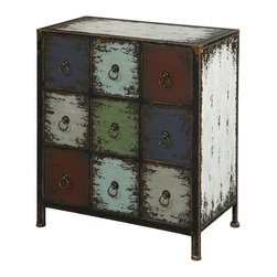 Powell Furniture - Parcel 9-Drawer Accent Chest - Nine drawers. Provides abundant amount of hidden storage space. Decorative pulls accent the fronts of each drawer. Made from MDF and iron. Antique cinnamon finish. No assembly required. 26 in. W x 14.5 in. D x 28.75 in. H (58 lbs.)The parcel collection combines antique, weathered look with rustic, industrial feel. Its distressed look is trendy, popular and full of unique character. Unique addition to any space in home.