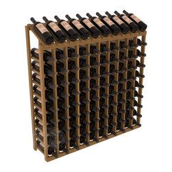 Wine Racks America - 100 Bottle Display Top Wine Rack in Redwood, Oak Stain + Satin Finish - Make your top 10 vintages focal points of your cellar or store. Our wine cellar kits are constructed to industry-leading standards. You'll be satisfied. We guarantee it. Display top wine racks offer ample storage below a presentation row. Great as a stand alone unit or paired with other modular racks from our product lineup.