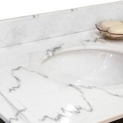 Bellaterra Home - Backsplash-white marble - genuine Baltic brown granite.