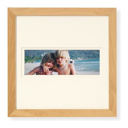 """Exposures - Modular Wall Frame  Panoramic 14x14(4x10) Natural - Overview This natural wood frame holds 4"""" x 10"""" panoramic photo with a warm white mat. Arrange a dramatic square grouping by combining assorted square and rectangle photo frames. The possibilities are perfectly pleasing. Features Solid wood frame Warm-white mat Vertical or Horizontal Wall display only  Specifications Panoramic frame holds a 4"""" x 10"""" photo and measures 14"""" wide x 14"""" high"""
