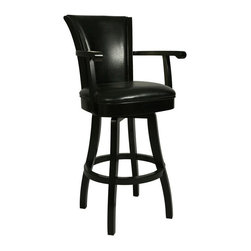 Pastel Furniture - Pastel Glenwood 30 in. Swivel Bar Stool with Arms - Feher Black - GL-217-30-FB-8 - Shop for Stools from Hayneedle.com! The leather upholstery on the Pastel Glenwood 30 in. Swivel Bar Stool with Arms in Feher Black gives it an executive desk chair look in a bar stool. Give your home bar a sophisticated feel. This bar stool features a quality wood frame with foot and arm rests all finished in sleek Feher Black. The seat is foam-padded for maximum comfort and richly upholstered in leather for a touch of class. Fanned out backrest. Choose black or cream upholstery. Please note: This item is not intended for commercial use. Warranty applies to residential use only. About Pastel Furniture:Pastel Furniture's attention to detail and commitment to quality make their products an ideal choice for any home. Their line of swivel bar stools and counter stools features innovative styles that easily fit into almost any home decor. These stools are built to last using high-quality materials such as heavy-duty steel frames and web seat construction and their hand-painted finishes are durable and rust-resistant. Pastel doesn't just stop at bar and counter stools though; they provide a range of products from dining chairs and tables to full dining sets. You're sure to find something among their many fine products that catches your eye and coordinates perfectly with your home.